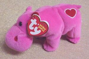RARE Ty Beanie-2008 Ty Store HUGAMUS, Pink Hippo MWMT-tag errors, 2 tush tags.