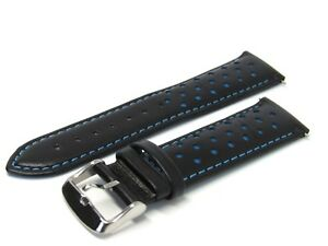 LEATHER-WATCH-BAND-STRAP-22MM-BLACK-BLUE-Made-for-Tag-Heuer-Carrera