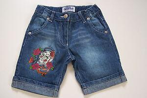 Jeansbermuda-Short-Bermuda-Jeans-Print-Totenkopf-Bundweite-verstellbar-122-NEU