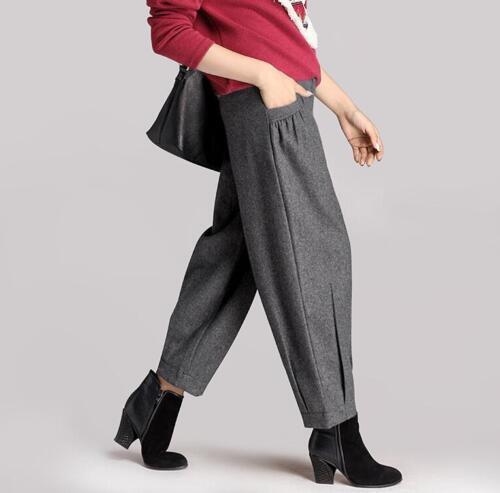 Womens Autumn Winter Wool Blend Lantern Trouser Harem Pants High Waist Wide Leg