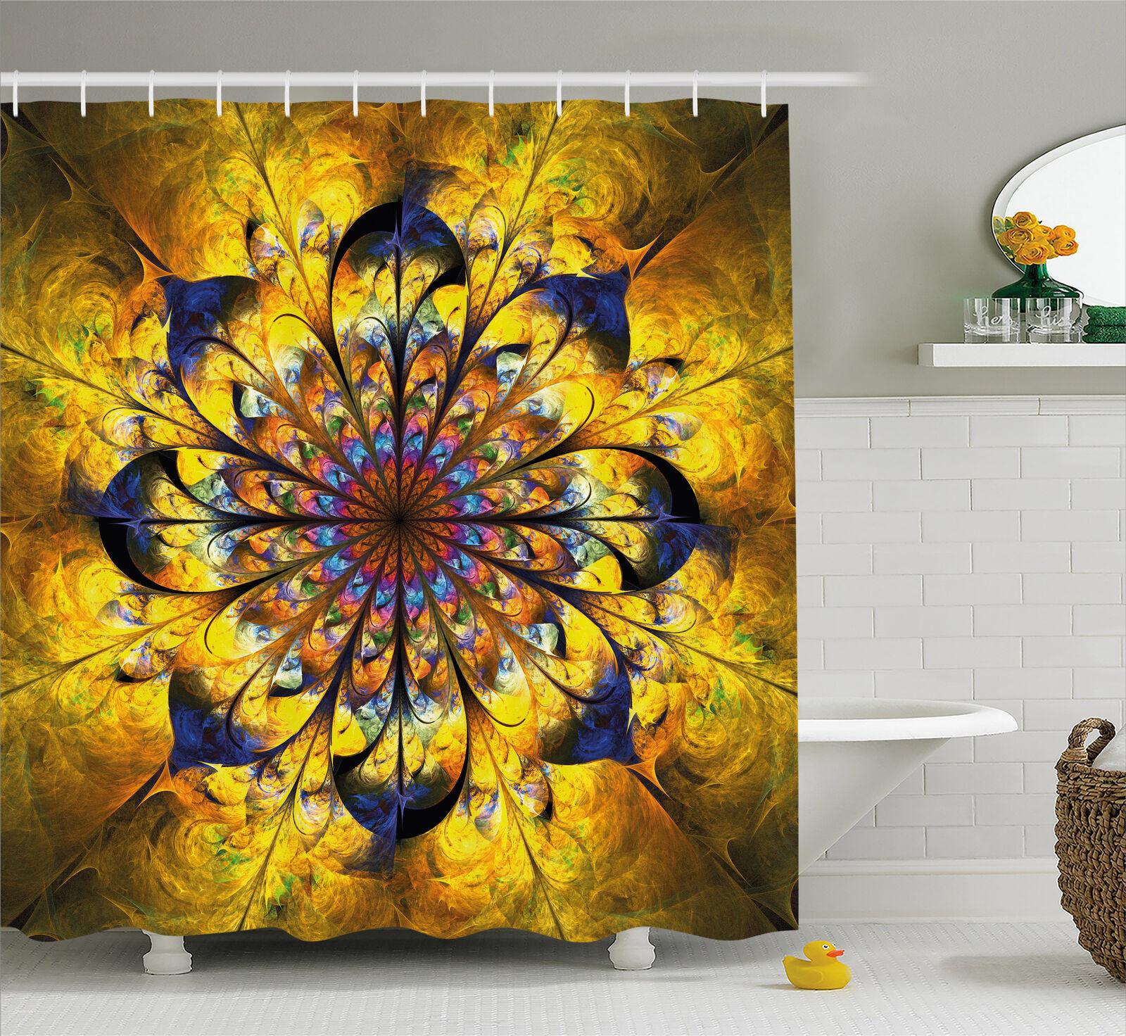 Yellow And Blue Shower Curtain Mandala Boho Art Print For Bathroom 84 Extralong