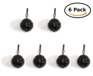 Harmonie-de-peche-Tungstene-ronde-Boule-Dropshot-Poids-6-pack-noir