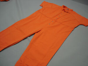 Boys Prisoner Orange Hostage Boilersuit Convict Jail Party Fancy Costume Yr 7-12