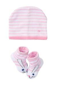 Bnew-Calvin-Klein-Striped-Hat-amp-Bunny-Socks-Set-Baby-Girls-6-12M