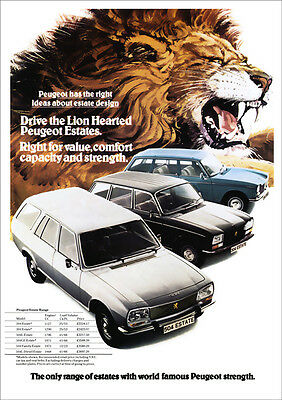 PEUGEOT 504 304 204 ESTATE RANGE RETRO A3 POSTER PRINT FROM CLASSIC 70'S ADVERT