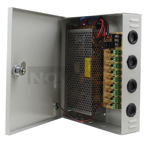 9 Channel CH CCTV Security Camera PTC Power Supply Box Distribution 12V 10A DC