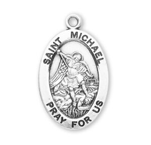 Saint-St-Michael-Sterling-Silver-7-8-034-Oval-Medal-w-20-034-Chain-Boxed