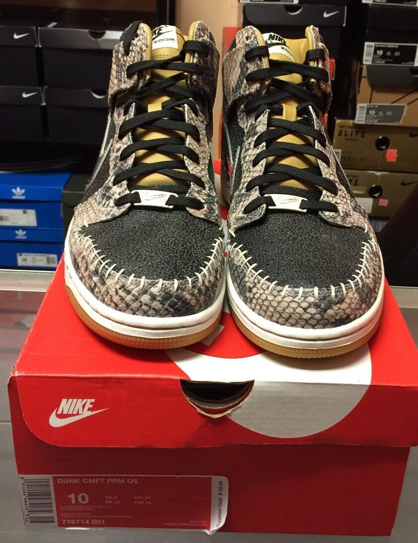 Nike Dunk High CMFT PRM QS Snakeskin Black/ Metallic Silver 716714-001 Comfortable The most popular shoes for men and women