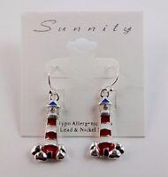 Lighthouse Earrings Silver Red White Blue Hook Dangle Sunnity