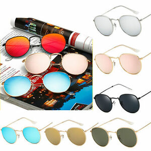 Retro-Redondo-Para-Mujer-Hombre-Montura-Metalica-Gafas-de-sol-vintage-exterior