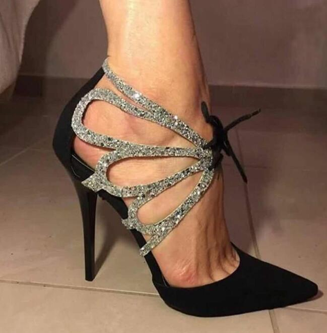 2019 Sexy Womens Rhinestone Pointy Toe Sexy High Heel Shoes Suede Roman Oxford