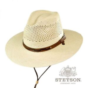 4714a8b7 Stetson Men's Airway Chincord Panama Straw Safari Hat in Natural + ...