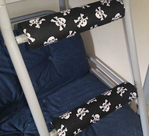 SKULLS/PIRATE Padded BunkBed Ladder Rung Covers*No-Tool Install*(Safe, Non Slip)