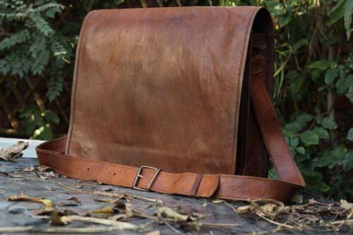 """18/"""" Men/'s Brown Laptop Bag Briefcase Messenger Work Office Shoulder Bag Leather"""
