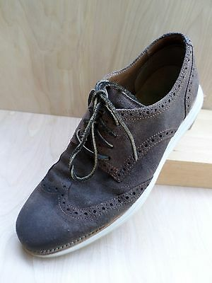 COLE HAAN Lunargrand brown suede oxfords brogues wingtips shoes 9M