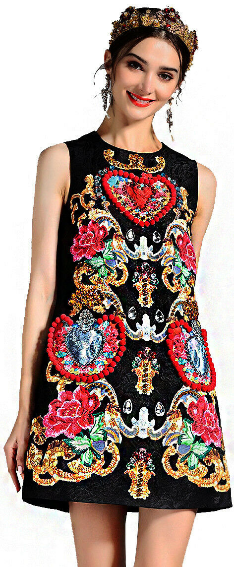 damen Valentine's Summer Elegant Print Cocktail Mini Jewellery Dress Beads