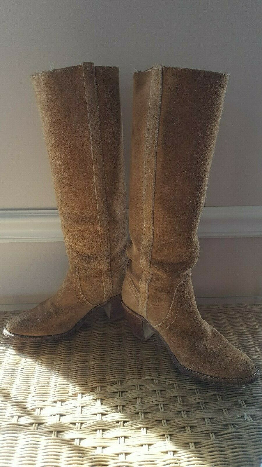 FRYE RENEE BEIGE SUEDE LEATHER LEATHER LEATHER KNEE HIGH COWBOY WESTERN BOOTS SZ 5.5 MSRP  378 73fb89