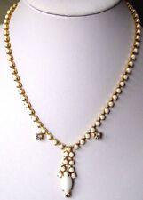 collier bijou ancien porcelaine blanche cristal diamant couleur or  551