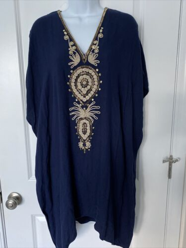 Lilly Pulitzer Chai Caftan Navy/Gold Beaded/Embroi