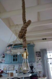 Shabby Lampe Hangelampe Knotenlampe Dickes Tau 80 165 Cm Lange Retro
