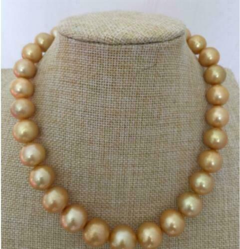 """Nouveau Style Naturel 13-15 mm South Sea Gold Pearl PERLES rondes Collier 18/"""" AAA"""