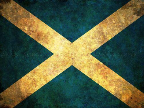 FLAG NATIONAL SCOTLAND SALTIRE BLUE WHITE STRESSED GRUNGE ART PRINT MP3672A