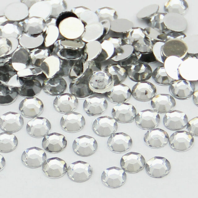 2000pcs Crystal Silver Flat Back Nail Art Rhinestones Gems Glitter Beads 20Color