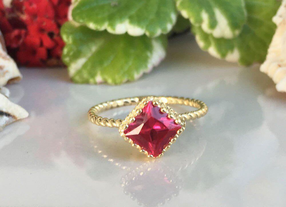 1ct Princess Pink Ruby Engagement Ring 14k Yellow gold Finish Crown Rope Design