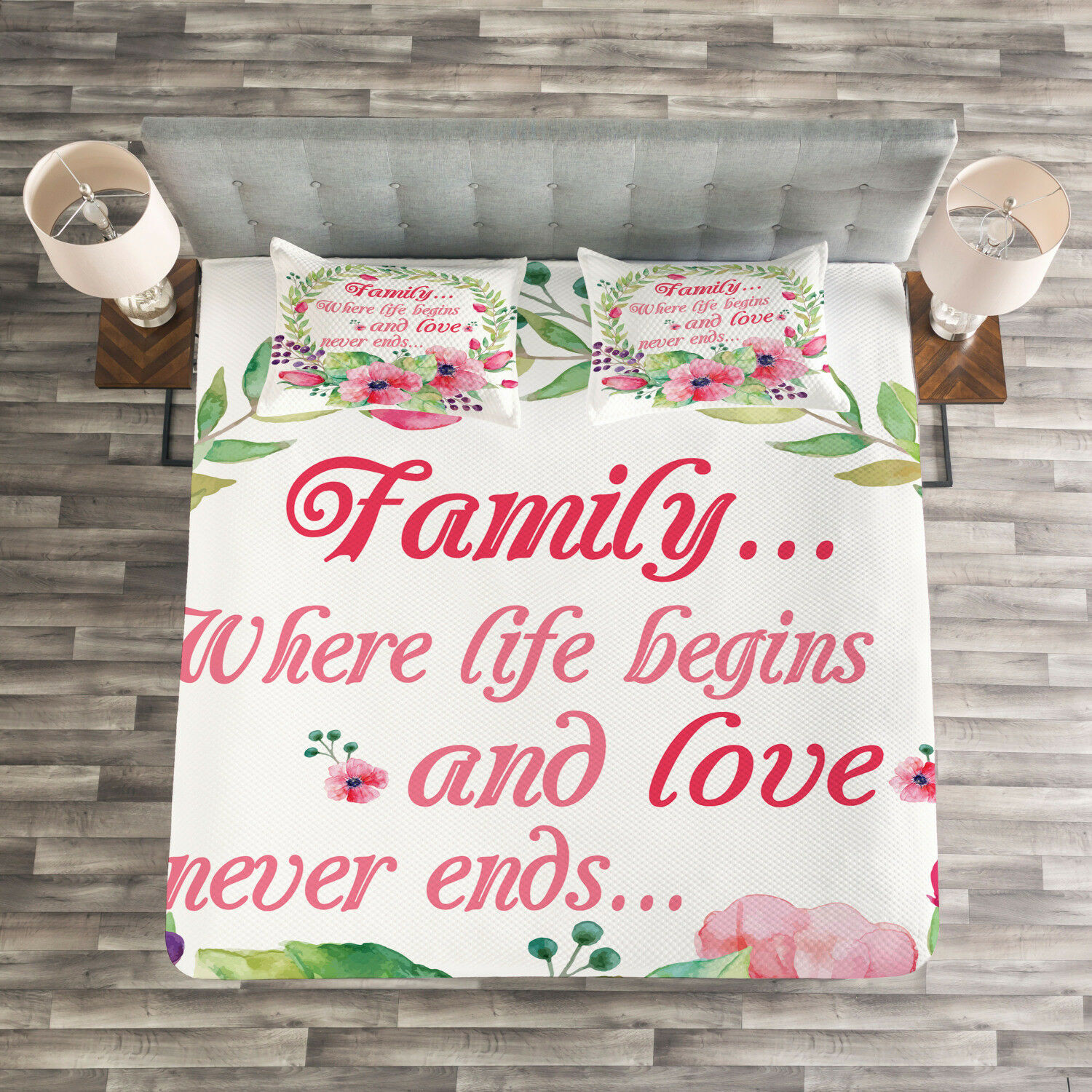 Quote Quilted Bedspread & Pillow Shams Set, Wreath and Flower Design Print