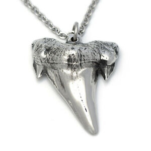 Handmade metal shark tooth pendant necklace in pewter on 20 chain image is loading handmade metal shark tooth pendant necklace in pewter aloadofball Gallery