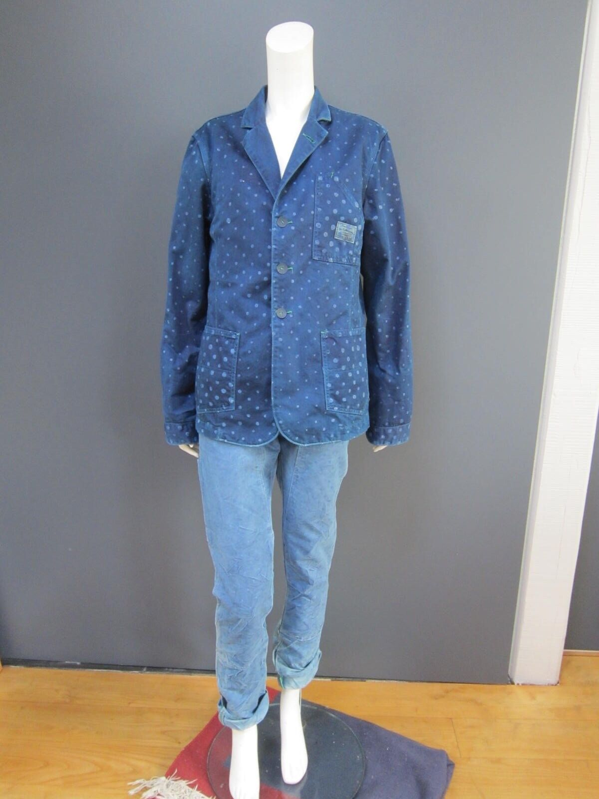 DR. COLLECTORS indigo pants   trousers   jeans NEW with polka dots