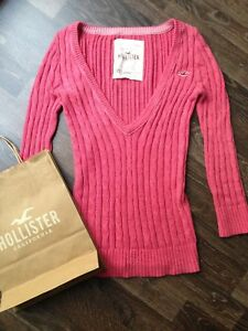classic fit 15f60 52cf4 Details zu Hollister Pullover Strickpullover Pulli Wolle Wollpullover XS 34  S rosa Kurzarm