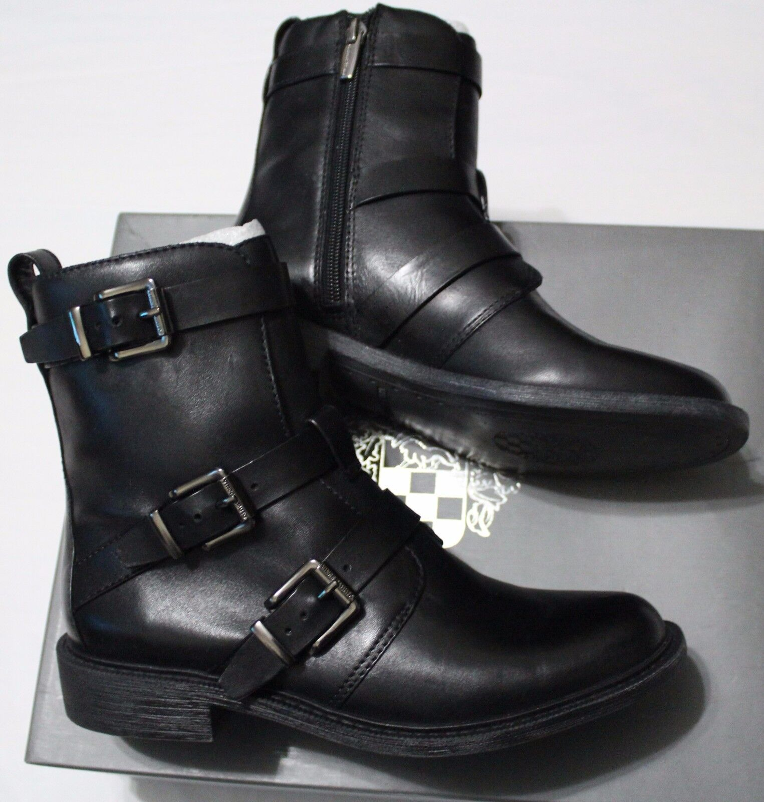 149 VINCE CAMUTO RAEGEL BLACK SILKY LEATHER LEATHER SILKY ANKLE BOOT US 6M 34673d