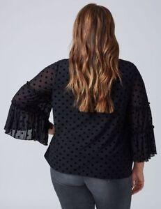 3f439b3bd54 Lane Bryant Plus Size BLACK Dot Mesh Ruffle Sleeve Top Shirt 18/20 ...