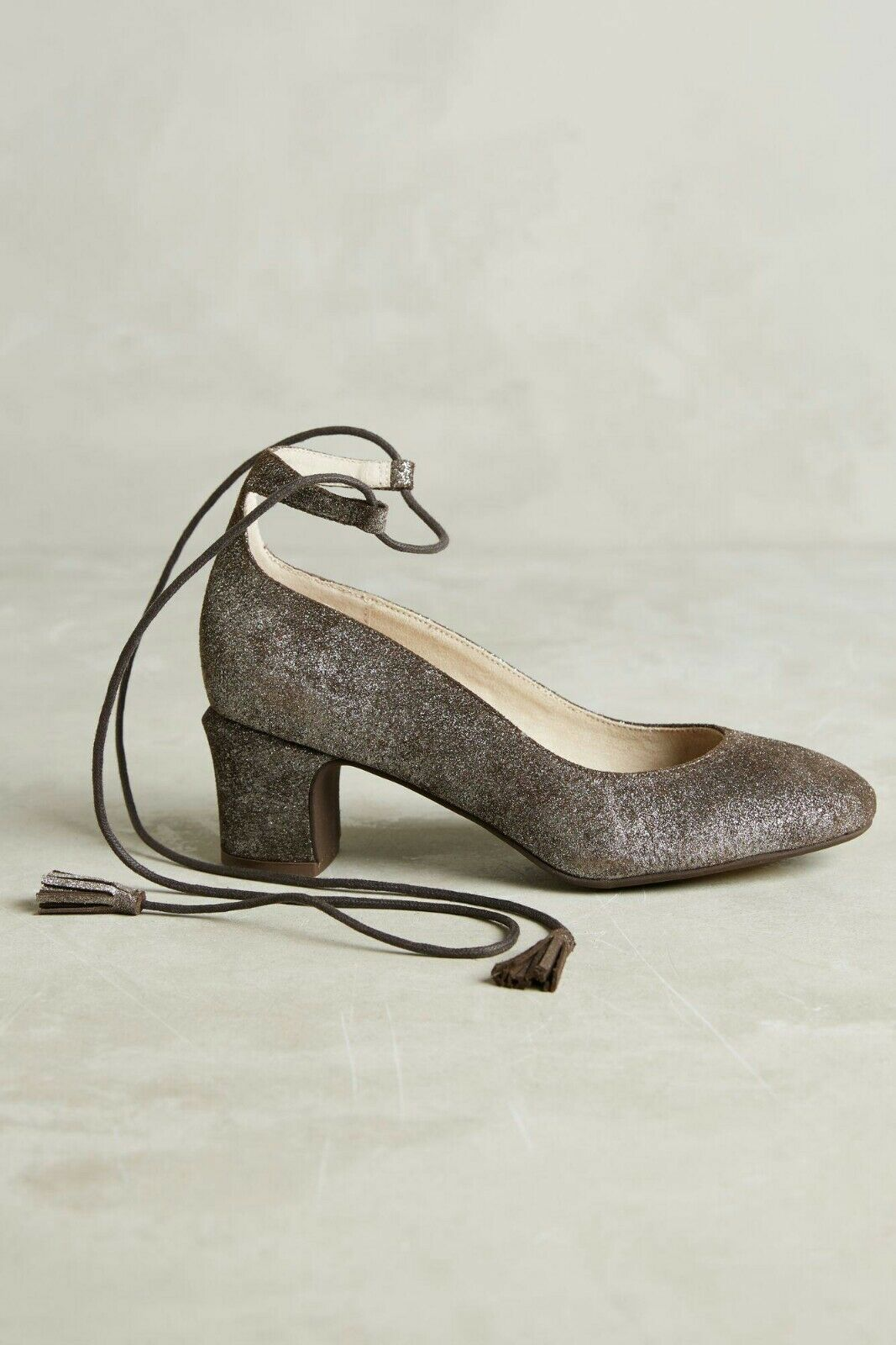 Anthropologie Pachuca Pumps Lace Up Tassel Pewter Suede by Lien Do Size 7.5  148