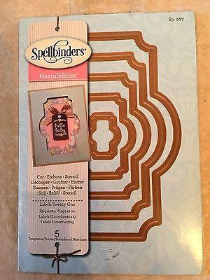SPELLBINDERS Nestabilities LABELS TWENTY ONE 5 Dies S5-027 Cut Emboss Stencil