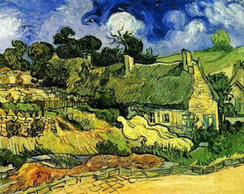 """Vincent Van Gogh Thatched Cottages at Cordeville  20/""""x26/""""  Canvas Art  Print"""