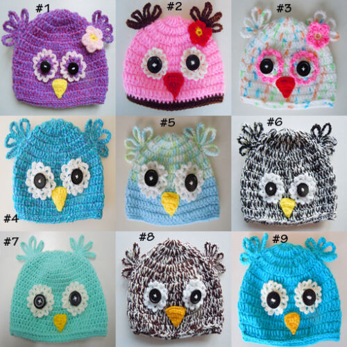 Custom Crochet Baby Owl Hat Button Beanie Photo Prop  From Newborn to Adult