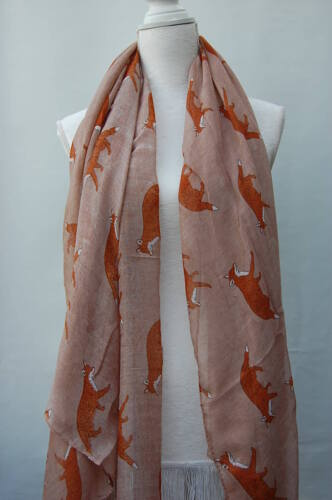 FOX Print Scarf Celebrity Casual Fashion Scarves Shawl  Wrap Animal Print