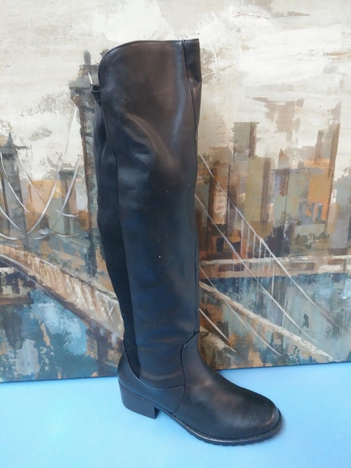 Womens  Size 7.5 Black Leather Fashion Boots Shoes Style 17730