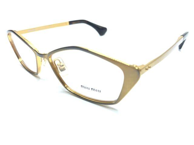 62e211e0c7db Authentic MIU MIU Eyeglass Frames VMU 53L LAF-101 Gold Brown Tortoise 52mm  0526