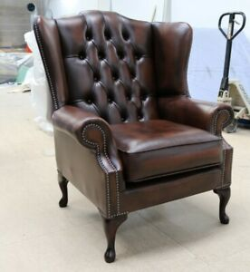 CHESTERFIELD-BLOOMSBURY-QUEEN-ANNE-HIGH-BACK-WING-CHAIR-VINTAGE-BROWN-LEATHER