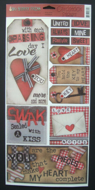 ~LOVE NOTES~ Bo-Bunny Cardstock Stickers; Valentine's Day Hearts, SWAK, Marriage