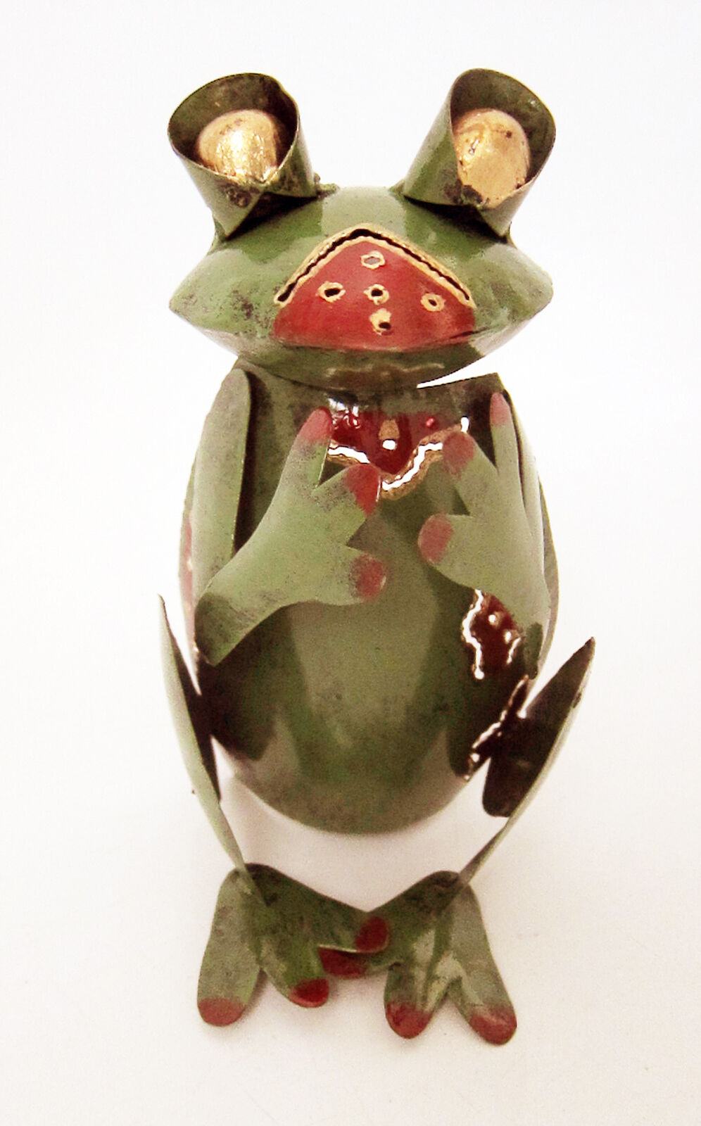 FROG shaped tea light candle holder green + gold painted steel fair trade, new