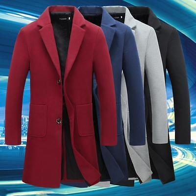 Stylish Men Dust Coat Casual Thicken Trench Coat Outwear Warm Long Jacket