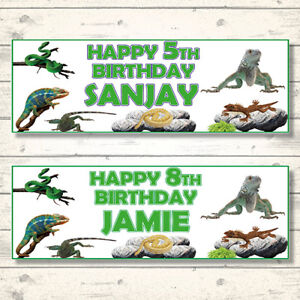 2-PERSONALISED-800-x-297mm-REPTILE-BIRTHDAY-BANNERS-SNAKE-LIZARD-IGUANA