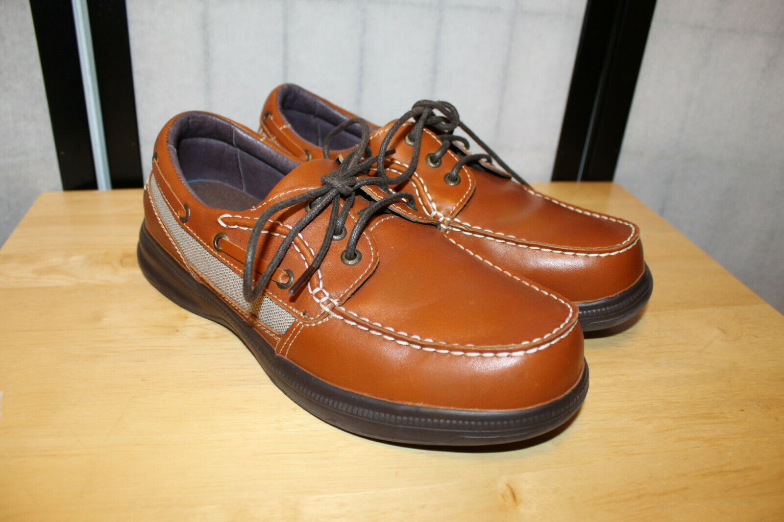 NB  RARE  BARBADOS SURE FIT BROWN  LEATHER WALKING BOAT STYLE SHOES SZ 10 W MINT