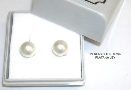 PLATA de LEY estuche Envío certificado PENDIENTES PERLAS SHELL 8mm Esféricas