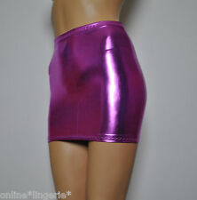 SIZE 6-8 SEXY PINK PVC WET LOOK LYCRA MICRO MINI SKIRT PARTY DANCER FETISH H46
