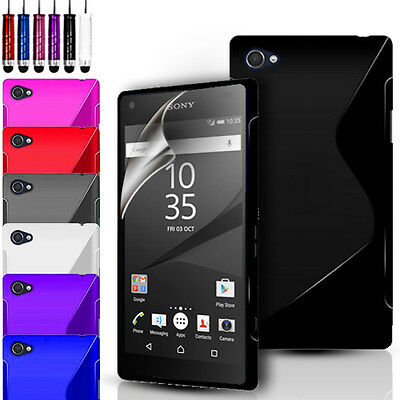 S-Line Gel Case Cover Pouch For Sony Experia Z5 Compact/Mini & Screen Protector